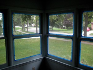 Painters Tape around windows in Painting Trim