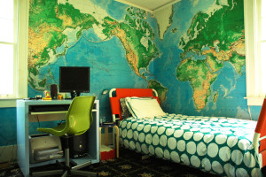 Map Themed Boy's Room in Painting Ideas for Kids