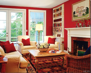 Bright Red Living Room in Painting Ideas for Living Room
